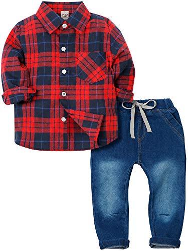 Zoerea Baby Jungen Bekleidungssets Kariertes Hemd & Jeans Langarm T-Shirt Baby Anzug Rot und Schwarz,90