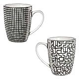ASA 90904071 MAORI - Henkelbecher - Porzellan - schwarz / weiß - 2 er Set - Ø 8 cm - Höhe 10,5 cm - 0,2l