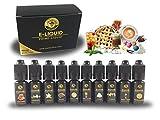 Los Liquidos E-Liquid für E-Zigarette, 10er Pack 10 x 10 ml ohne Nikotin 0mg nikotinfrei E-Shisha E-LIQUID-BOX Premiumset Elektrische Zigarette
