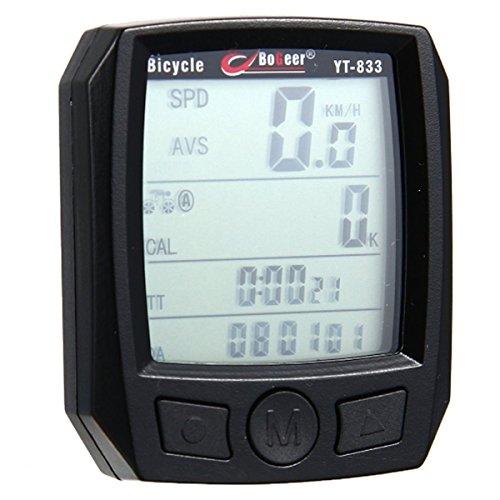 Drahtloser Fahrradcomputer Kilometerzähler, Wasserdicht Große LCD-Hintergrundbeleuchtung Motion Sensor Outdoor Radfahren Echtzeit Speed Track, Schwarz
