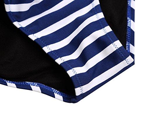 TDOLAH Damen High Waist Bikini Set niedrige Kragen Volants Tankini Swimwear Marineblau