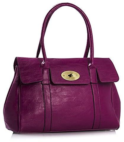 Big Handbag Shop Womens Faux Leather Designer Boutique Turnlock Shoulder Bag (Violet)