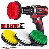 Drillstuff 4In 4 pezzi Soft, Medium e rigido per trapano Potenza Frattazzo per la pulizia di docce, vasche, bagni, mattonelle, Grout, Moquette, Pneumatici, Barche giallo, verde, rosso, bianco