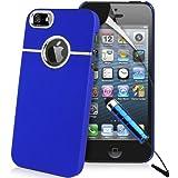 Blau Supergets Hülle für Apple iPhone 5 Case Schale Cover aus Baumharz mit Aluminium Silberfarbig Chrom Drahtziehen Optik und Schutzfolie
