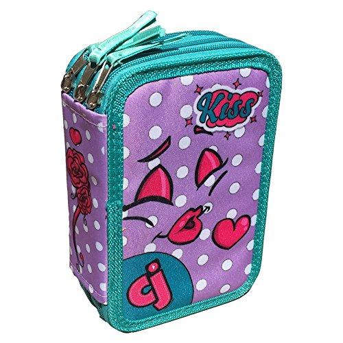 Astuccio scuola faccine 3 zip/cerniere porta colori pennarelli giotto bambina cm. 20x13x6 - cj0010c