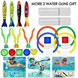 Wuree Juguetes para Nadar bajo el Agua Juguetes Juegos para la Piscina Anillos, Torpedo Bandit, Bolas de Juguete para Buceo, Huevos para Buceo, Juguetes de Buceo para niños 25pcs