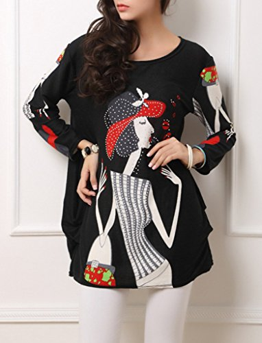 Bigood Mini Robe Grande Taille Femme Chemise Blouse T-shirt Tops à Manches Longues Col Rond Mode Noir