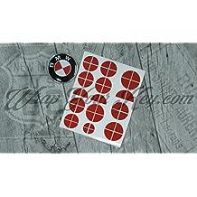 Stemma BMW Overlay in metallo rosso adesivo Hood Trunk cerchi @ per tutte le BMW @