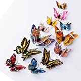 Kingko 12pcs 3D Butterfly Sticker Design Decal Art Mural Door Decals Wall Stickers Room Magnetic Home Decor (multicolor)