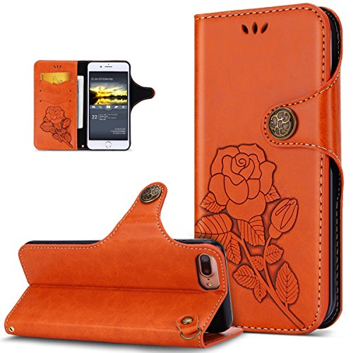 Custodia iPhone 6S Plus,Custodia iPhone 6 Plus,ikasus® iPhone 6S Plus / 6 Plus Custodia Cover [PU Leather] [Shock-Absorption] Protettiva Portafoglio Cover Custodia Con retro fibbia in pelle 3D rilievo Arancia