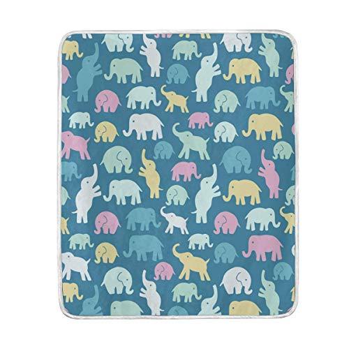 ALAZA Indien Afrique Bohème éléphant Fleur en Peluche Plaids Siesta Camping de Voyage léger Plaids Lit SOFE de Taille 127 x 152,4 cm, Polyester, Multi9, 50x60inches