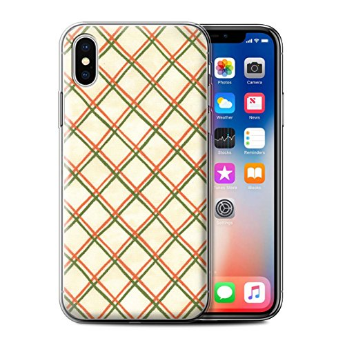 Stuff4 Gel TPU Hülle / Case für Apple iPhone X/10 / Rosa/Rot Muster / Kreuz Muster Kollektion Rot/Grün