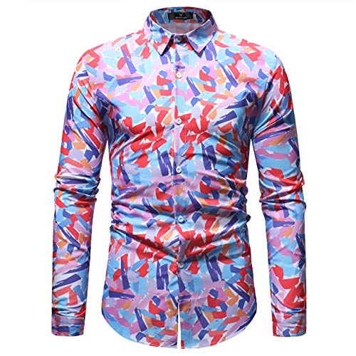 Herren Floral Bedruckt Design Langärmelig Herunter Geknöpfte Hemden(S,Blumen)
