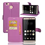 Qiaogle Phone Case - PU Leather Stand Wallet Flip Case Cover for Leagoo Shark 1 (6.0 inch) - FC09 / Purple Classic Solid Color Business Style