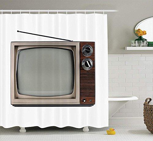 Nyngei 1950er Jahre Dekor Sammlung alte Fernseher mit Antenne Broadcast-Display antike Elektronik TV Bild Polyester Stoff Bad Duschvorhang 180CMe braun Beige -