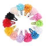 Veewon, 15 mollette per capelli con nastro di chiffon, a forma di fiore, per bambini