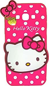 True Collection Hello Kitty Designer Soft Back Cartoon Cover Case Sillicon 3D For Samsung Galaxy G360-HKWITHPENDANT-DPINK