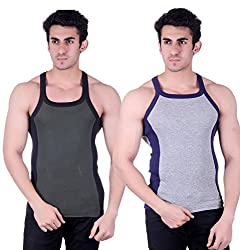 Zimfit Gym Vest - Pack of 2 (Grey_Green_32)