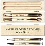Schreibset / Kugelschreiber + Druckbleistift aus massivem Birkenholz im Holzetui mit persönlicher Gravur