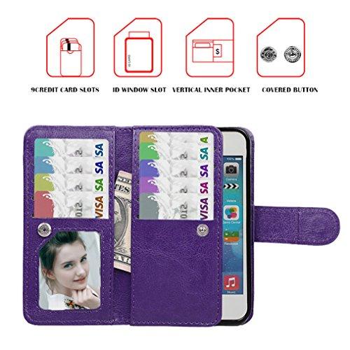 xhorizon FX Prämieleder Folio Case Magnetisch Wristlet Mappen-Geldbeutel Flip Multiple Card Slots Hülle für iPhone 5/5S mit einem 9H 0.25mm Hartglas Displayschutzfolie Lila mit 9H Hartglas Schutzhülle