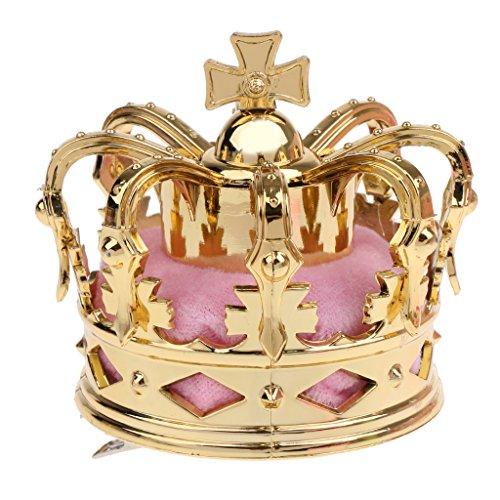 MagiDeal Mini Königin Krone Prinzessin Tiara Blumenmädchen Kopfschmuck mit Haarspange - Rosa