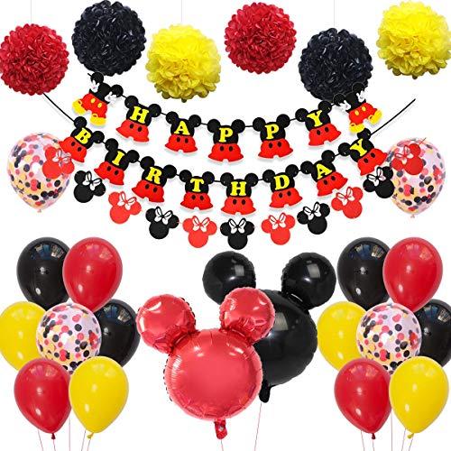 Fangleland Mickey und Minnie Partydekorationen Mickey-Mouse-Geburtstagsfeier-Set mit rot-schwarz-gelben Luftballons Girlande Happy Birthday-Banner für Jungen, Mädchen, Geburtstags-Baby-Dusche