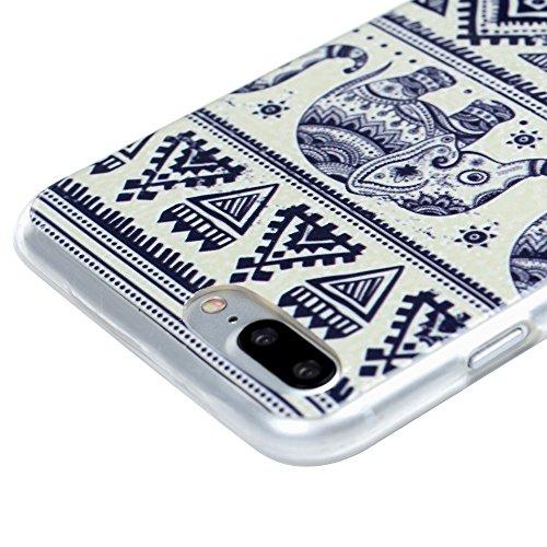"iPhone 7 Plus Hülle Case YOKIRIN Premium TPU Silikon Case Cover Handytasche Handyhülle Etui Softcover Tasche Schutzhülle Schale für iPhone 7 Plus (5.5"")Leopard Tribal Muster Elefant"