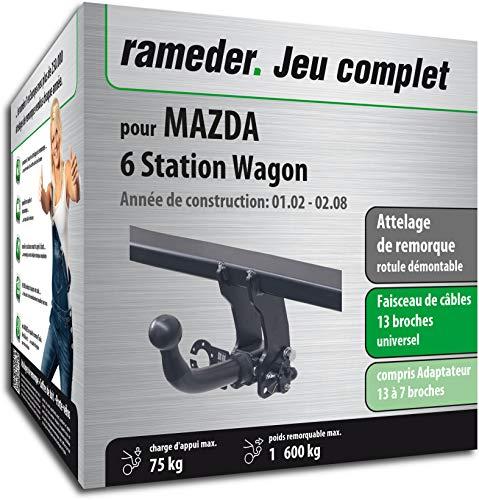 Rameder Attelage rotule démontable pour Mazda 6 Station Wagon + Faisceau 13 Broches (161264-04888-1-FR)