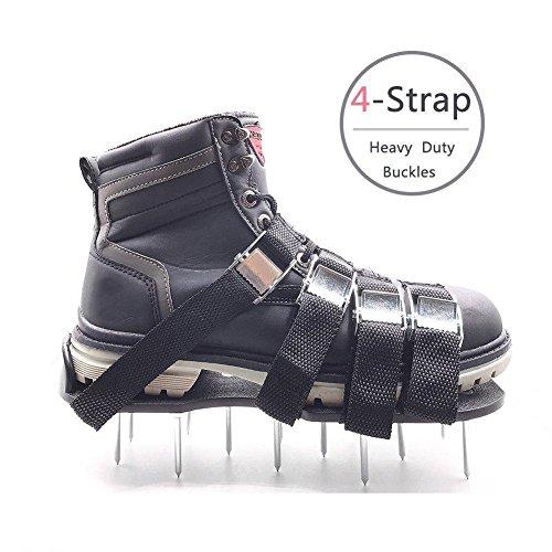 Rasen-Belüftungs-Schuhe, Meiwo Spikes Belüftungs-Sandalen mit 4 justierbaren Bügeln und starken Zink-Legierungs-Wölbungen, Universalgröße, die alle Schuhe oder Stiefel passt