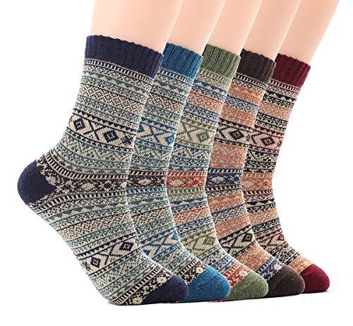JYOHEY 5 Paar Warme Socken Herren Dicke Stricksocken Herren Bunt Wolle Herbst Winter Socken Herren 37-44