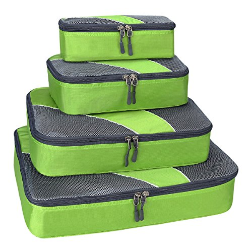 G4Free Packing Cubes Value Set for Travel,Luggage Organiser -4 pcs(D-Green)