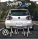 Saphir Design Vw Herzschlag Tuning Autoaufkleber - Logo A155/18 x 6 cm Hochleistungsfolie in der Farbe Weiß