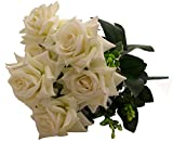 Fourwalls Artificial Velvet Rose Bouquet (40 cm, White, 7 Branches)