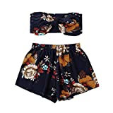 ❤️ Ropa de playa de las mujeres de dos piezas moda para mujer Sexy Impreso Tank Top chaleco + pantalones cortos pantalones de impresión floral ABsolute (L, Armada)