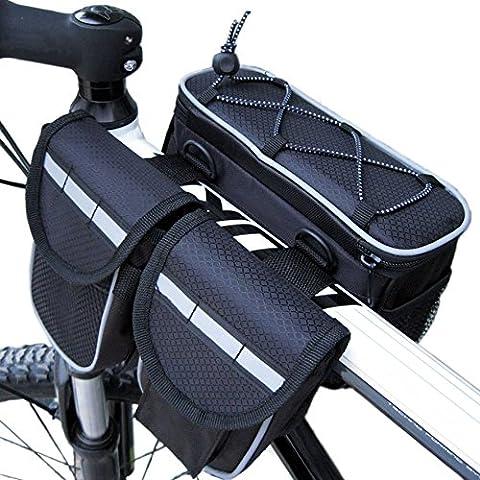 disc-nan bicicleta alforja bolsa de tubo superior con cubierta impermeable para bicicleta de carretera de montaña, negro