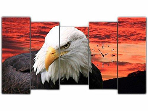 5 Tlg pared águila Cuadro lienzo Handel piezas reloj 150 x 80 lwb278