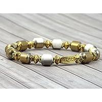Bracciale donna Venezia placcato in oro con perle in ceramica bianca e oro per galvanotecnica
