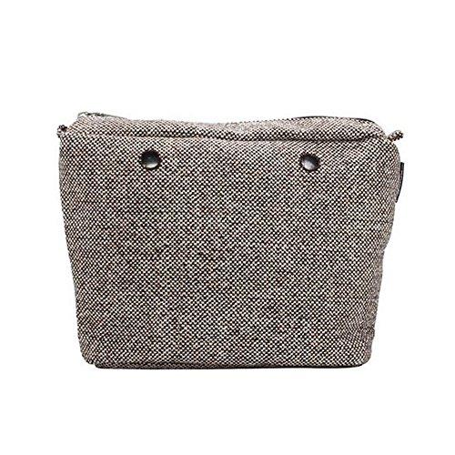 Sacca in cotone puntinato beige/brown per o bag mini