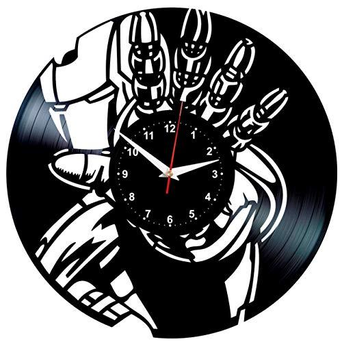 (EVEVO Iron Man Wanduhr Vinyl Schallplatte Retro-Uhr groß Uhren Style Raum Home Dekorationen Tolles Geschenk Wanduhr Iron Man)