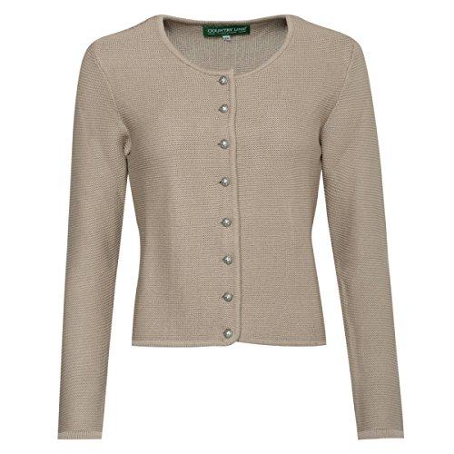 Country Line Damen Trachten-Mode Trachtenstrickjacke Bine in Beige Traditionell, Größe:36, Farbe:Beige