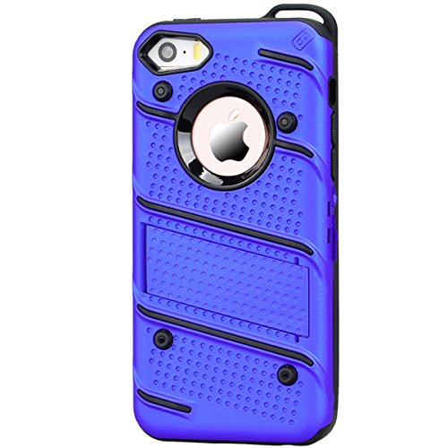 Coque iPhone 5S, HB-Int 3 en 1 Coque iPhone SE / 5S / 5 Housse Etui [Tough Armor] Ultra Fine Arrière Housse TPU Silicone Case Cover + [Protection Extreme] Rugged Slim Dual Layer Protective PC Housse E Bleu