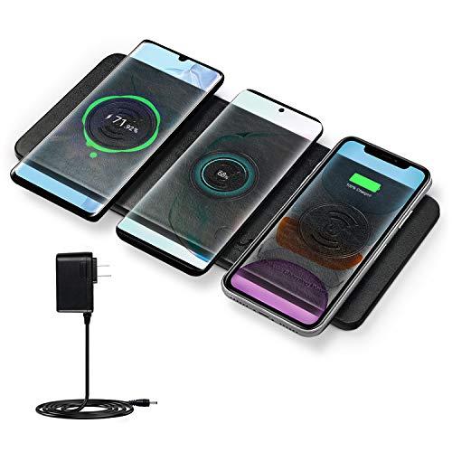JE Station de charge sans fil Chargeur triple ultra-mince certifié Qi certifié pour 3 appareils et Airpods Idéal pour iPhone11,11 Pro,11 Pro Max,Galaxy Note 10,Note 10 Plus,S10 Plus,S10E