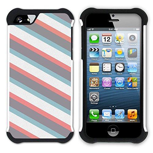 Graphic4You RED STRIPES Muster Hart + Weiche Kratzfeste Hülle Case Schale Tasche Schutzhülle für Apple iPhone SE / 5 / 5S Design #20