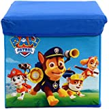 Baby Grow Children's Toy Box Kids Storage Bench Folding Stool Under Lid Toy Chest Organizer (Blue PAW Patrol)
