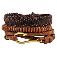 HOUSWEETY 3PCs Leather Bracelet for Men Women Braided Rope Bead Bangle Cuff Bracelet