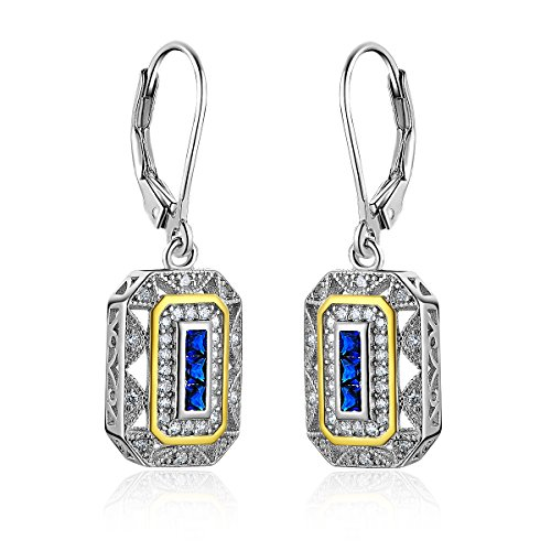 newshe vintate geschaffen Saphir Blau Weiß CZ 925Sterling Silber Edelstein baumeln Drop - Baumeln Ohrringe Diamond