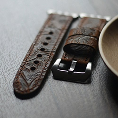 Apple Watch Leather Armband 42mm, Simpeak Premium Echtes Leder Vintage Band Strap Edelstahlschließe für Apple Watch 38mm Series 1/2/3 22mm 24MM -