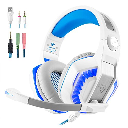 Gm Ipod (Tophie Gaming Headset, GM-2 Over-Ear Surround Sound Stereo Kopfhörer mit Mikrofon und LED Licht für Xbox One PS4 PC Computer Tablet Mobile Phone (Weiß))
