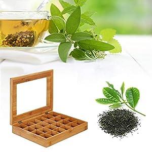 EZIZB Boîte à thé décorative en Bambou avec 24 Compartiments pour Le Rangement des sachets de thé et Autres accessoiress - 50x30x5.5CM