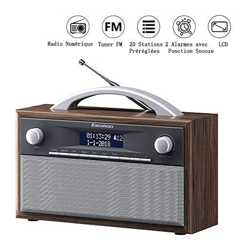 Excelvan DAB+ digital Radio UKW Retroradio AM/FM Kristallklarer Klang Küchenradio Holzgehäuse, 2 Alarmzeiten mit Radiowecker, 20 Sender speichern